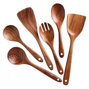NAYAHOSE Non-stick Wooden Utensil Set, Cooking Spoons and Spatulas