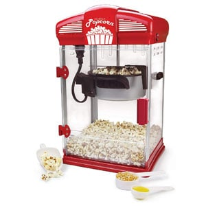 West Bend Popcorn Machine For Home Theater with Nonstick Kettle and Serving Scoop