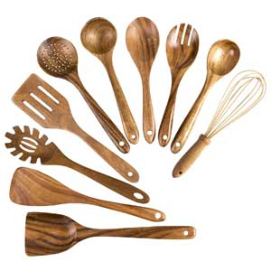 10 Pack Wooden Utensil Set, Wooden Cooking Spoons Spatula for Nonstick Cookware