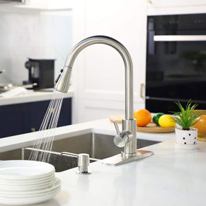 FORIOUS Single Handle Kitchen Faucet with Pull Down Sprayer Brushed Nickel