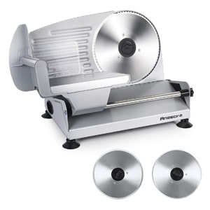 Anescra Electric Meat Slicer for Bacon with Two Removable Stainless Steel Blades
