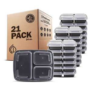 Freshware Freezer To Microwave Containers 21 Pack, Microwave/Dishwasher/Freezer Safe