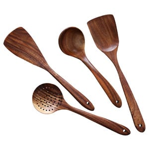 NAYAHOSE Natural Teak Wood Kitchen Wooden Utensil Set - Nonstick Spatula and Spoons