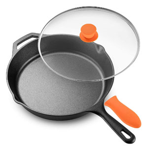 Cast Iron Skillet For Glass Top Stove with Glass Lid & Silicone Handle