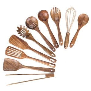 Kitchen Wooden Utensil Set for Cooking, Nonstick Spoons With Spatula