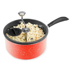 Zippy Pop Red Marble Stovetop Popcorn Popper, Glass Lid with Silicone Rim
