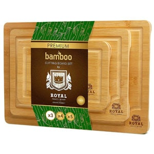 Bamboo Cutting Board For Chicken with Juice Groove (3-Piece Set)