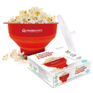 Collapsible Silicone Microwave Hot Air Popcorn Bowl With Lid and Handles
