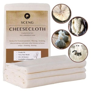 Cheesecloth Grade 90, 36 Sq Feet, Reusable, 100% Unbleached Cotton Fabric