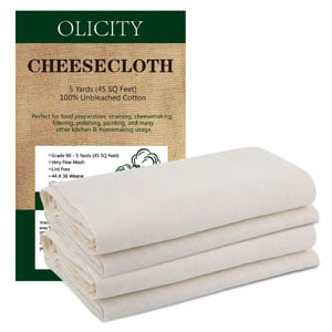 Olicity Cheesecloth for Straining, Grade 90, 45 Square Feet, 100% Unbleached Cotton Fabric