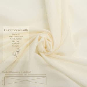 Grade 90, 54 Sq Feet Reusable Cheesecloth for Straining